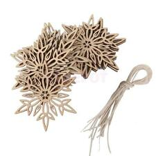 10pc Vintage Wood Twig Snowflake Christmas Tree Hanging Decoration w/ String