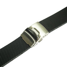 22mm Bonetto Cinturini Model 300D Mens Black Rubber Deployant Watch Band Strap
