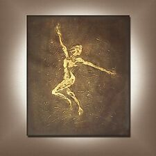 LARGE ABSTRACT OIL PAINTING MODERN DECOR HAND PAINTED GOLD DANCER (NOT FRAMED)