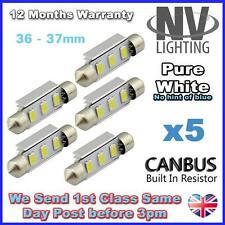 5x BMW Mini Cooper 36mm R50 R52 R53 License Number Plate 6 LED Light Bulbs White