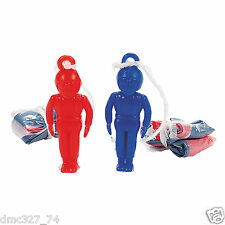 12 4th of July PATRIOTIC Party Favors MINI Parachute Red White Blue PARATROOPERS