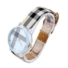 Fashion Plaid Leatheroid Watch Women Men's Sport Casual Quartz Wristwatch GP