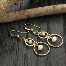 14K Gold Filled White Pearl Hoop Bridal Artisan Handmade Dangle Earrings X665