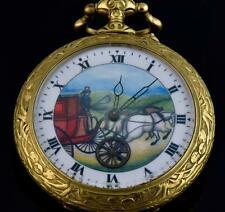 Rare antique giant fancy gold plated chased case Doxa  Automaton pocket watch.