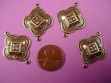 6 brass ox medieval art nouveau style charm connectors with loop 26mm
