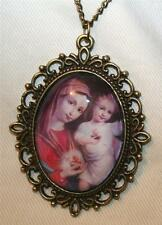 Picot Rim Immaculate Heart of Mary and Immaculate Heart of Jesus Cameo Necklace