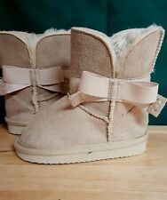 Warm Toddler Girls Winter Snow Boots Faux  Fur/Suede Shoes US Size 5 Tan