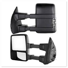 99-16 Ford F250 Super Duty Towing Manual Mirrors Set Black Pair Side Smoke Lense
