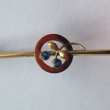 Old vintage antique Edwardian brooch gold with sapphires