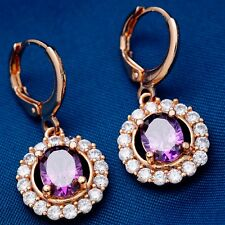 FASHION TREND ROUND DESIGN ROSE GOLD PLATED PURPLE Cubic Zircon DROP Earrings