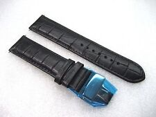 WITTNAUER BLACK LEATHER STRAP BAND MEN'S WATCH 22 MM LUG 7.75 INCHES S/S CLASP