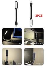 2PCS Black Flexible Mini USB LED Light Lamp for Notebook Laptop Night Reading