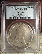 1776 Colonial Times in Mint State PCGS. MS - 61  Silver Thaler