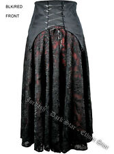 WHITBY GOTH STEAMPUNK VICTORIAN RED & BLACK  LACE MAXI SKIRT 12 14 16