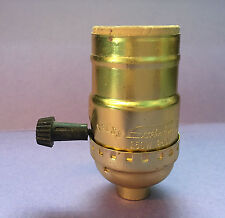 NEW:  TURN KNOB ON/OFF MEDIUM BASE LAMP SOCKETS BRASS PLATED