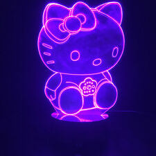 3D Hello Kitty 16 Colors Changing Illusion Novelty Mood Table Lamp Night Light