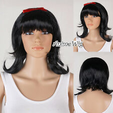 Princess Snow White 1960s Flick Wig Black Beehive Bob Wig Fancy Dress Party