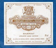 SAUTERNES 1ER GCC VIEILLE ETIQUETTE CHATEAU COUTET A BARSAC 1977 RARE    §19/05§
