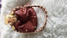 Vintage Bolsa De Cuero Con Bronce en expansión de cuello
