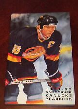 Vancouver Canucks yearbook  1991-1992  NHL Trevor Linden cover