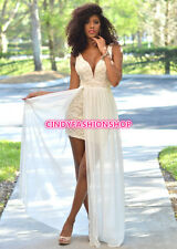 Women Sexy  Wrap Chiffon Lace Backless Long Formal Bridesmaid Prom Gown Dress
