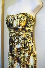 star vixen multi color camo animal print strapless ruched bust long dress WM