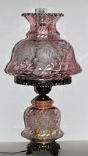 Gone with the Wind Hurricane Lamp Pink Clear Swirl Glass Etched Roses VINTAGE