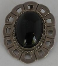 Vintage Taxco Mexican Sterling & Black Onyx large & heavy Brooch Pin or pendant