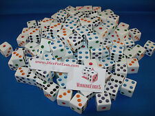 WHITE DICE w/ COLORED PIPS 16mm (200 PACK) BUNCO PARTY