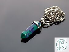 Chrysocolla Crystal Point Pendant Dyed Natural Gemstone Necklace Healing Stone