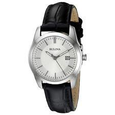 Bulova 96M129 Lady's Classic Quartz Silver Dial Black Band Watch