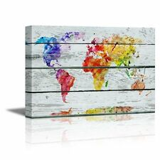 "Canvas Prints- Abstract Colorful World Map on Vintage Wood Background- 16"" x 24"""