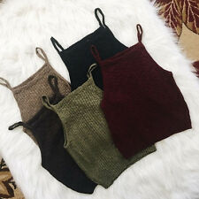 Girls Women Fashion Sleeveless Blouse Vest Knit Crop Tops Casual Tank Cami Shirt