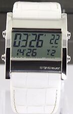 AUTHENTIC TAG HEUER MICROTIMER CS111G.FC6199 DIGITAL WHITE LEATHER SWISS WATCH