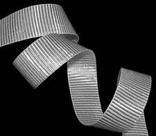 "5 Yards Silver Metallic Silver Christmas Holiday Grosgrain Ribbon 1""W"