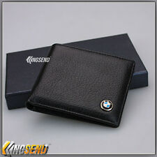 new BMW Wallet black Genuine Cow Leather Bifold Men Purse Car Women Pouch Father