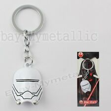 Star Wars Clone Trooper Mask Metal Pendant Key Ring Chain White NIB #02