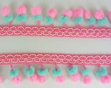 Double Pink Green Mini Twin Pom Pom Mix Color Ball Dangling Fringe Trim Wave Sew