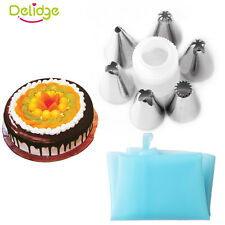 Silicone Icing Piping Cream Pastry Bag Convert 6 Nozzle Set Cake Decorating Tool
