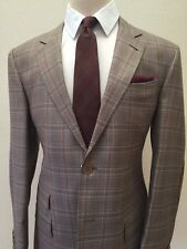 Brown super 150 Cerrutti plaid wool suit with elbow patch for men made in Italy