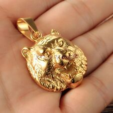 New Design Men's Shinny Gold Stainless Steel Forest King Tiger Pendant Necklace