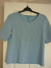 NEXT BLUE & IVORY TEXTURED JACQUARD STRUCTURED JERSEY TOP UK 10, EUR 38, US 6