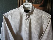 SMALL 14.5-32/33 COTTON BEN SHERMAN CHECK PLAID BANDED COLLARLESS WESTERN SHIRT