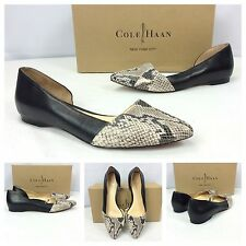 Cole Haan Nwb Sexy Black Leather Snake Pointy Toe Ballet Flats Shoes Sz 9 $198