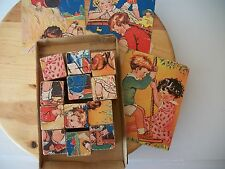 Vintage Wooden 6 Sided Puzzle Cubes 12 Cubes No Box