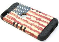 iPod Touch 5th & 6th Gen - HARD&SOFT RUBBER HYBRID ARMOR CASE USA AMERICAN FLAG