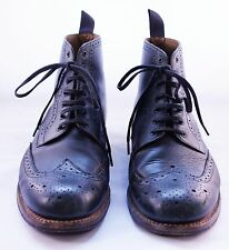 Grenson Brogue Wing Tip Boots, Black, 9