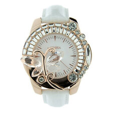 Butterfly Adorned Watch with Rhinestones & Snake Skin Strap - White