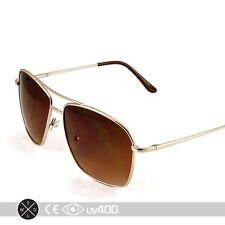 Classic Square Aviator Sunglasses Gold Metal Frame Gradient Amber Lens S234