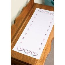 Dimensions - Rose Hearts - Stamped for Embroidery -  TABLE RUNNER